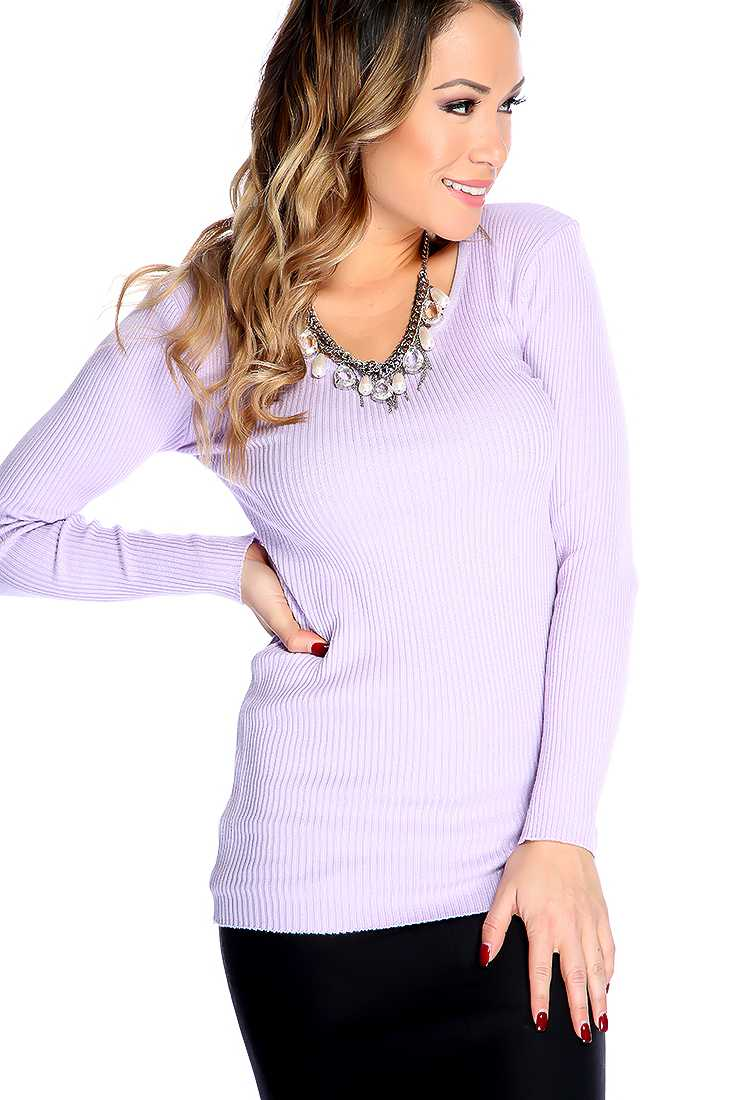 Lavender Long Sleeves Round Neckline Sweater