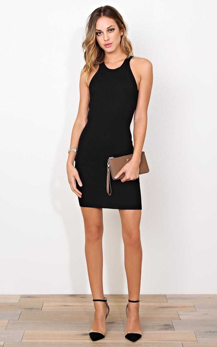 Vegas Nights Rib Knit Dress - LGE - Black in Size Large by Styles For Less