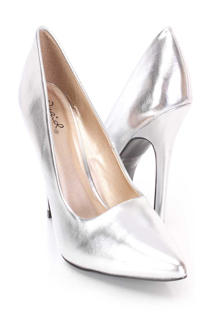 Silver Single Sole Pump High Heels Faux Leather
