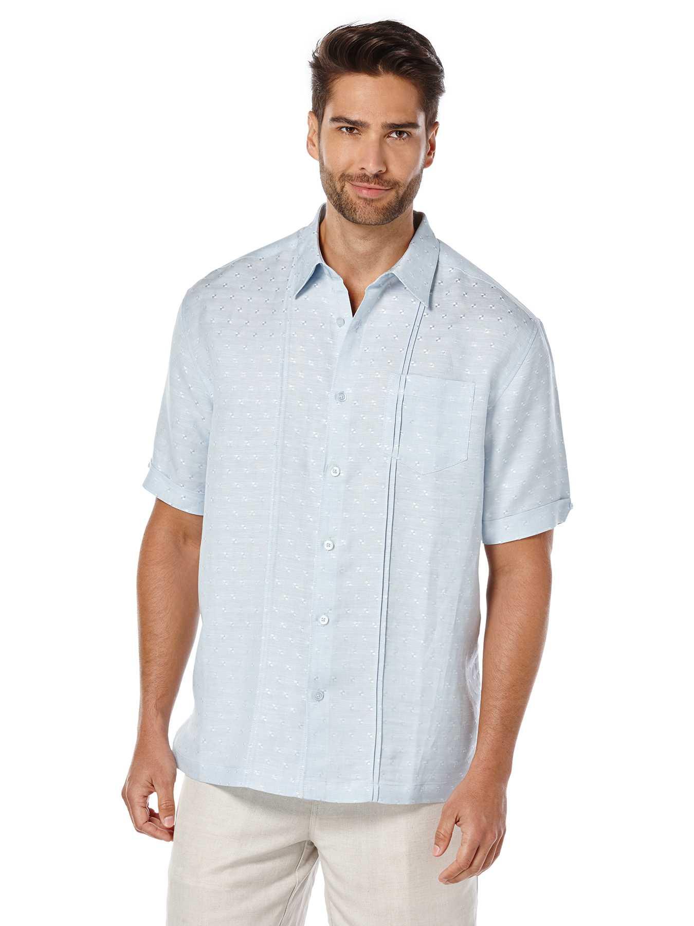 Cubavera Short Sleeve 1 Pocket Dobby Texture with Tucks Shirt