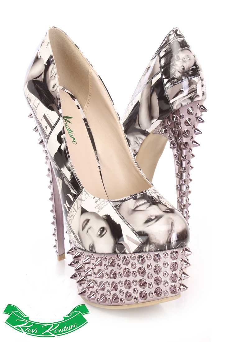 Black White Printed Pump High Heels Patent