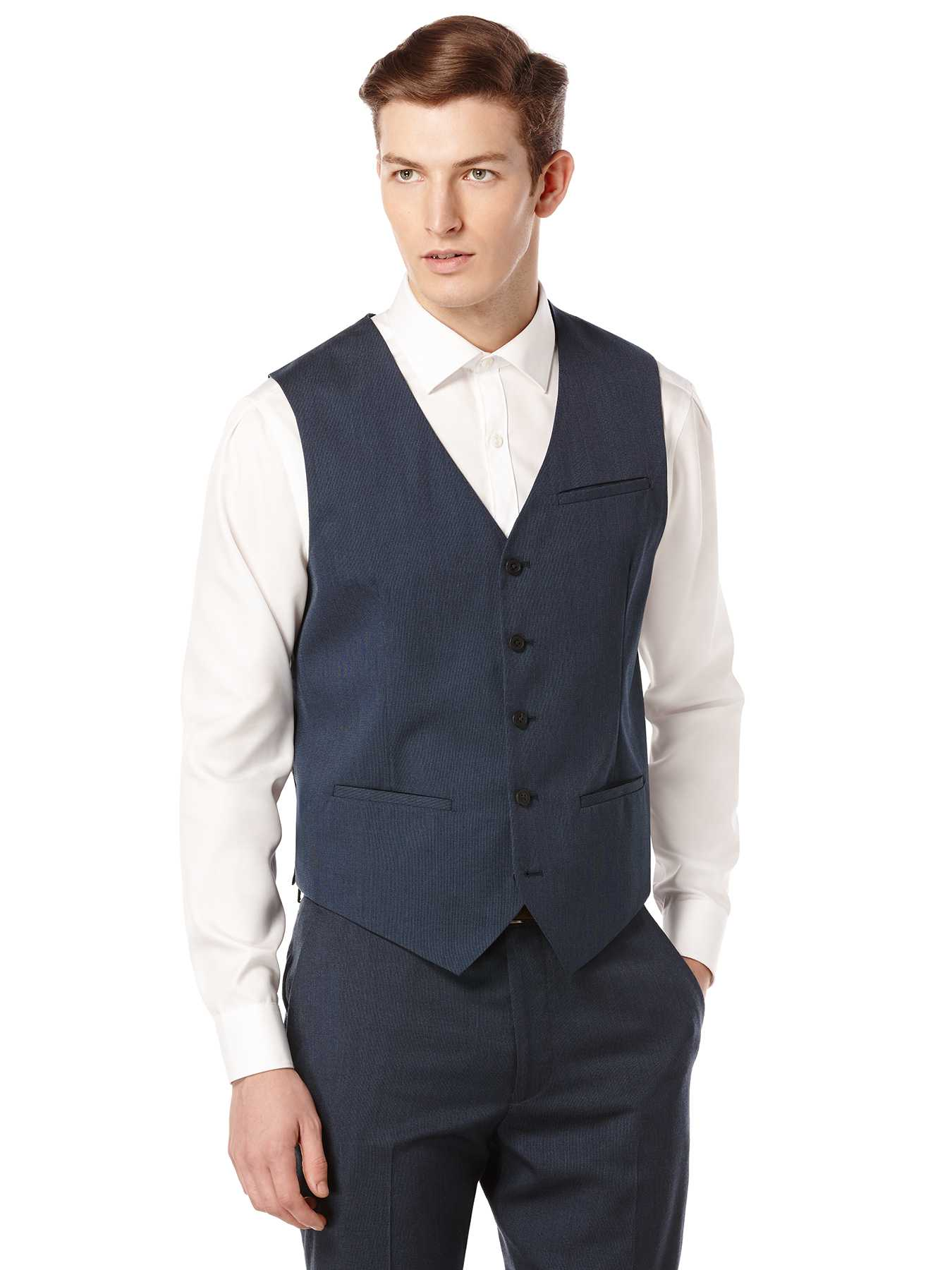 Perry Ellis Textured Solid Suit Vest