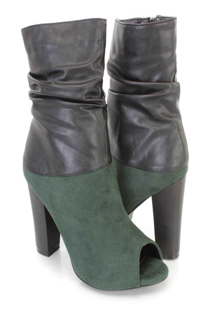 Olive Two Tone Slouchy Chunky Heel Boots Faux Suede