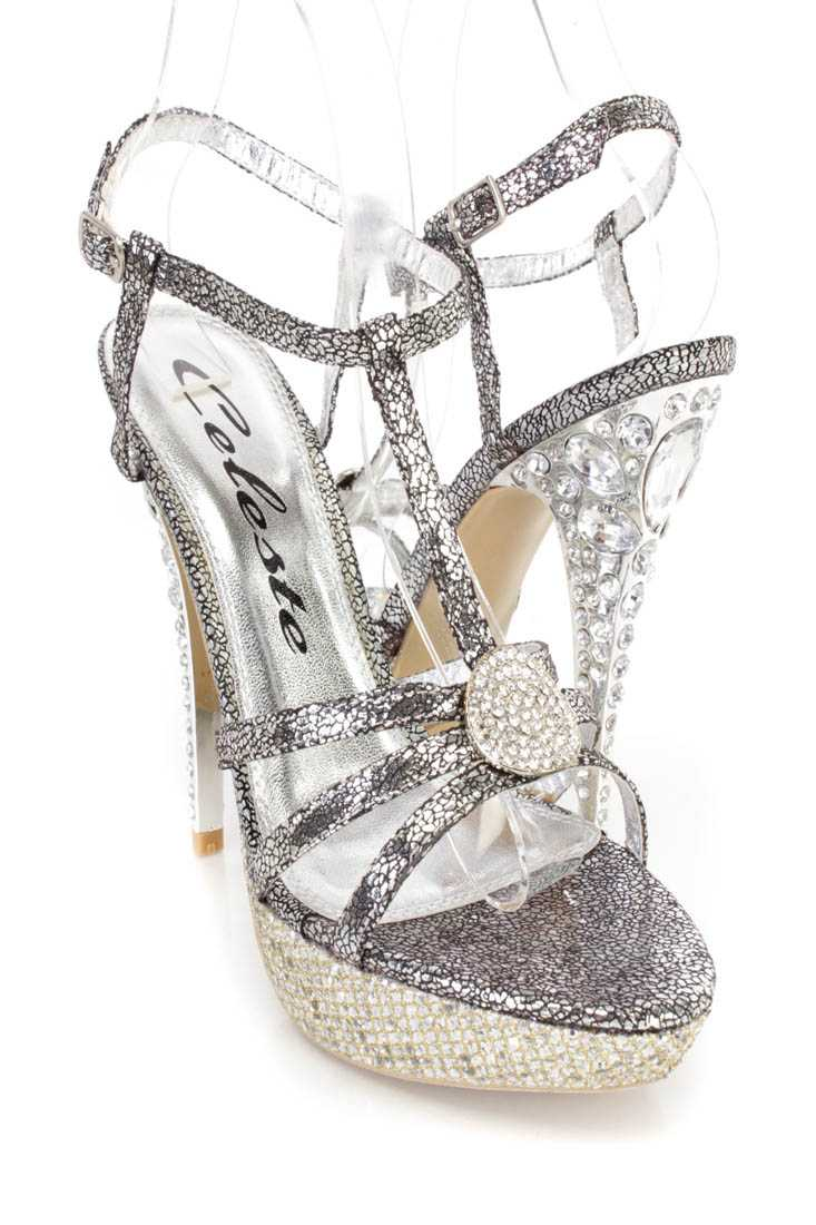 Silver Metallic Rhinestone Metal T Strappy Open Toe Heels Faux Leather