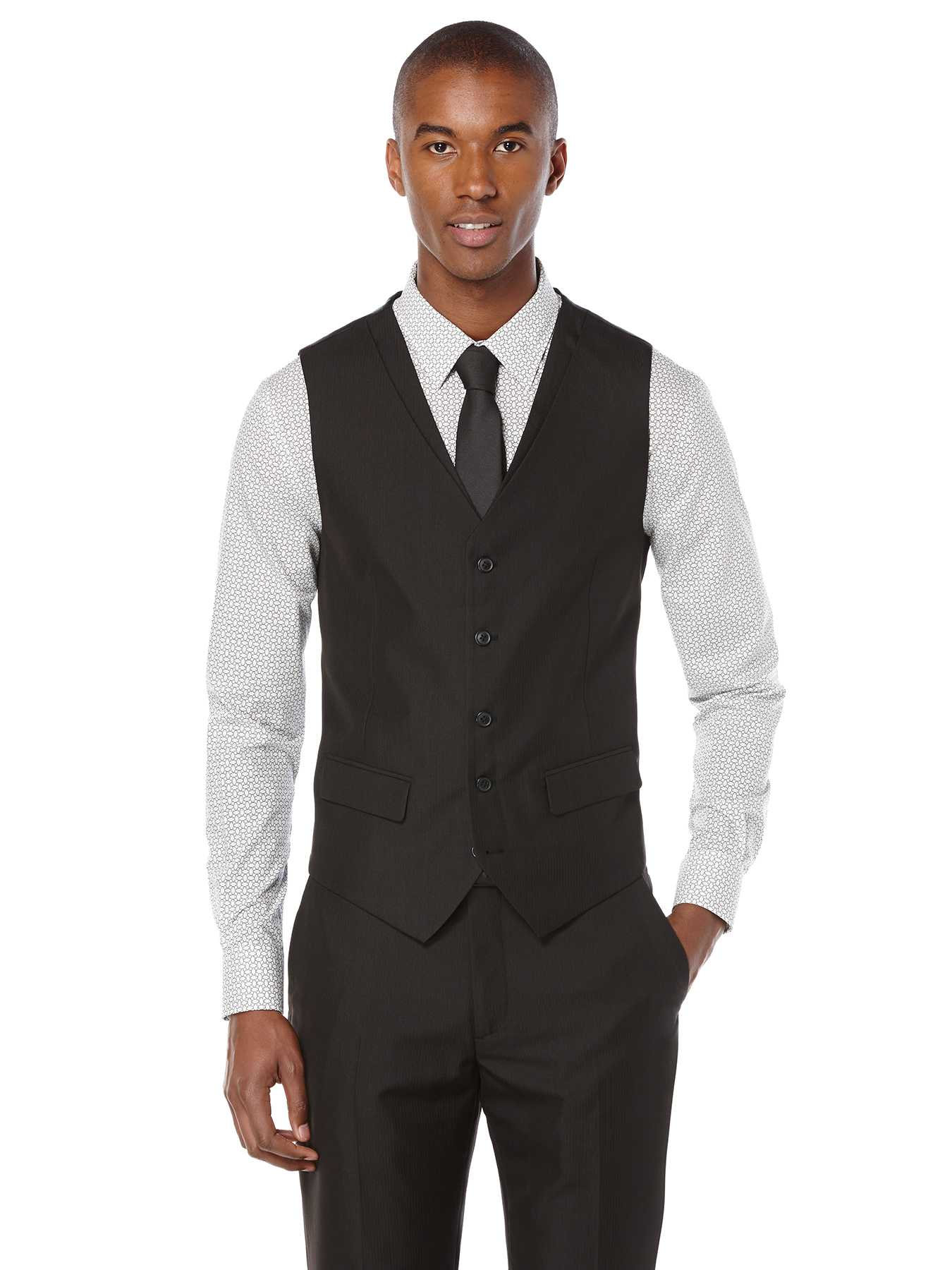 Perry Ellis Slim Fit Stripe Twill Suit Vest