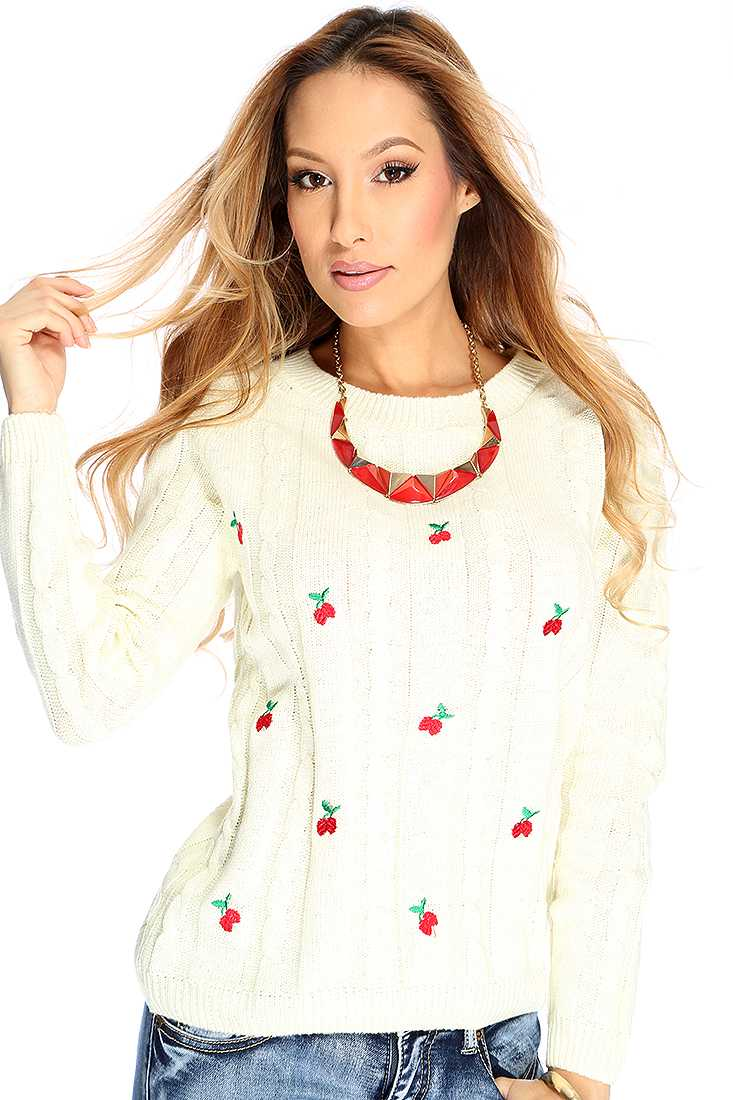 Ivory Long Sleeves Cherry Accent Casual Sweater