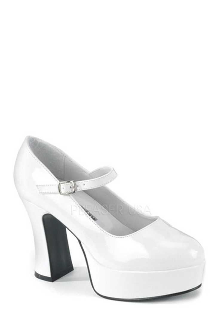 White Wide Width Maryjane Chunky High Heels Patent