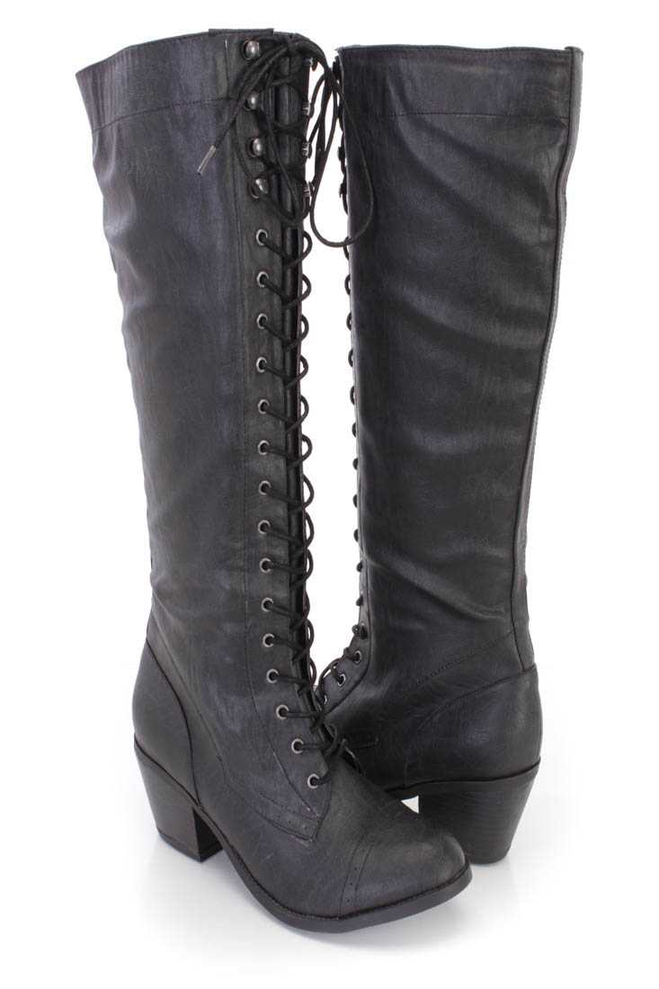 Black Lace Up Mid Calf Boots Faux Leather