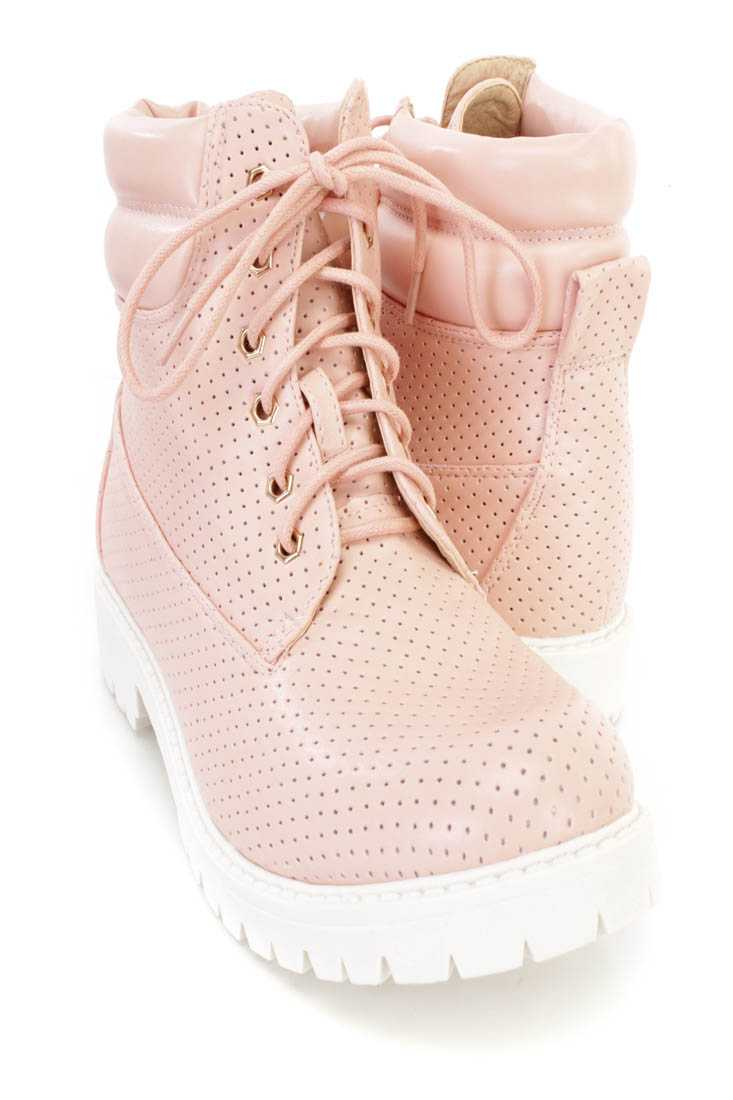 Pink Perforated Lace Up Boots Faux Leather