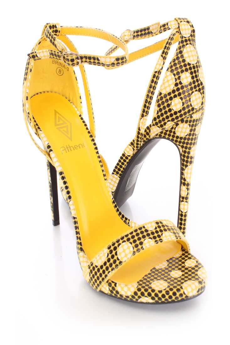 Yellow Polka Dot Pattern Single Sole Heels Fabric