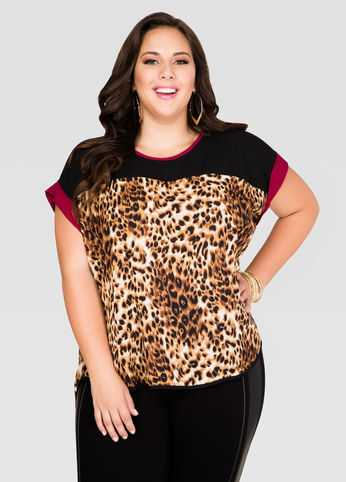 Animal Print Cross Back Tee