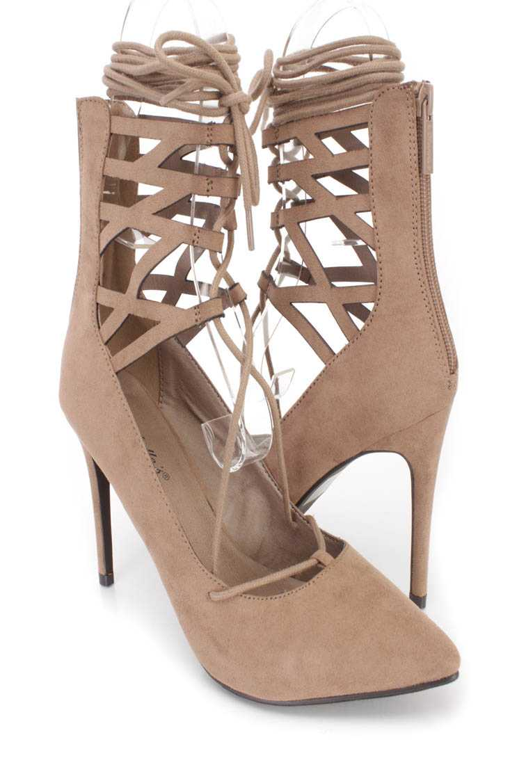 Natural Wrap Around Tie Single Sole High Heels Faux Suede