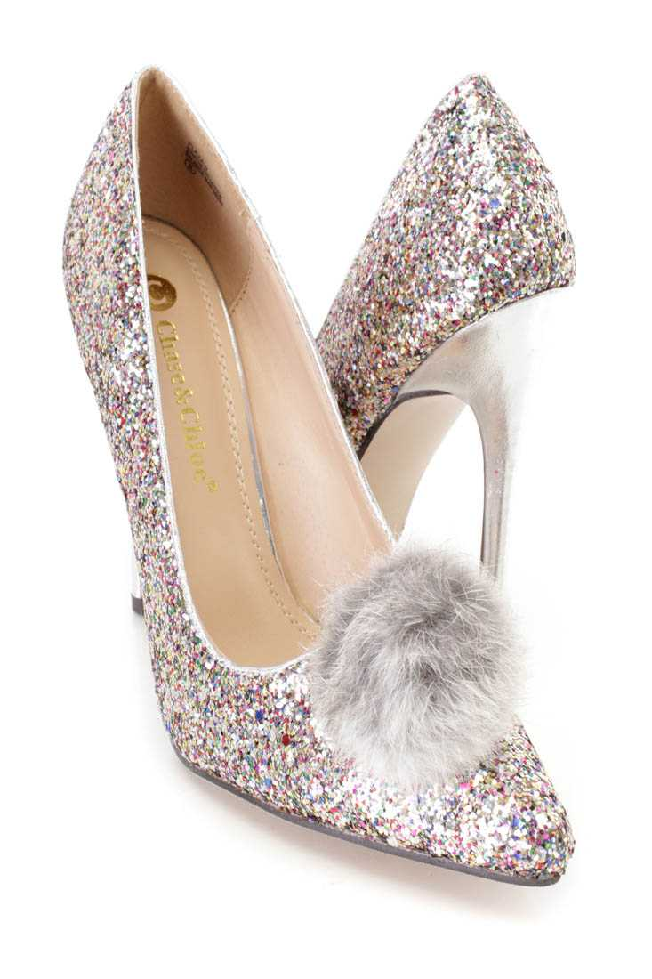 Silver Faux Fur Pom Pom Single Sole Pump Heels Glitter