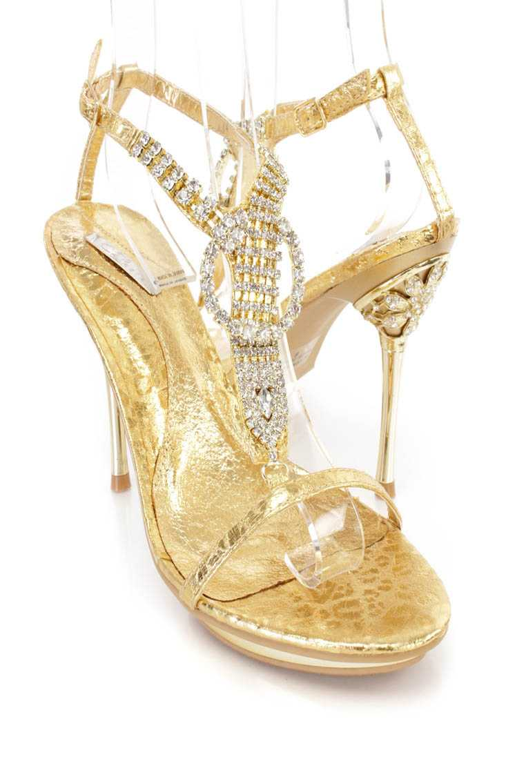 Gold Rhinestones T Strap Sandal High Heels Faux Leather