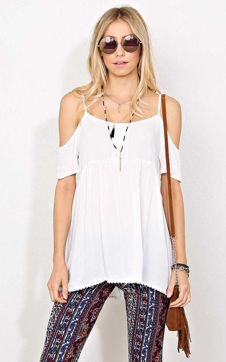 Sunlight Woven Cold Shoulder Top - LGE - White in Size Large by Styles For Less