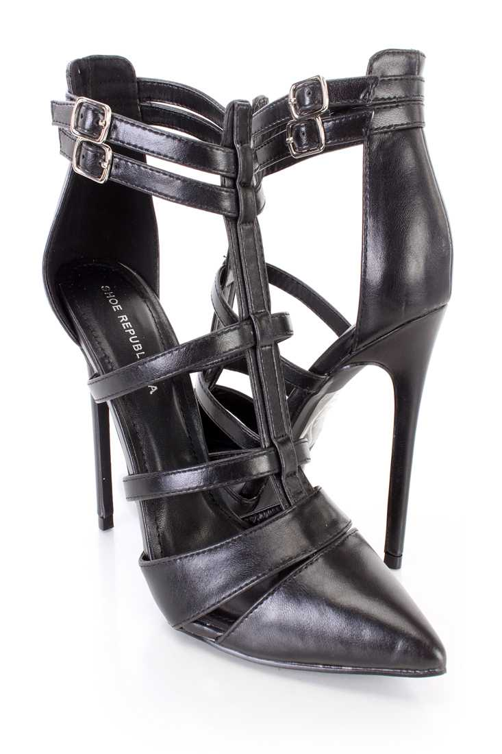 Black Strappy Single Sole High Heels Faux Leather