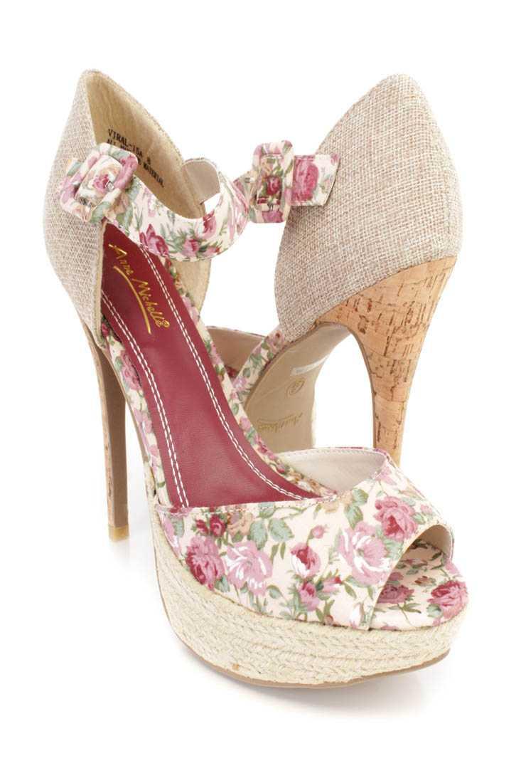 Beige Floral Print Espadrille Cork High Heels Fabric
