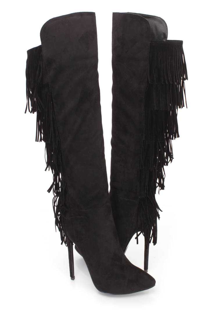 Black Fringe Pointy Toe High Heel BootsFaux Suede