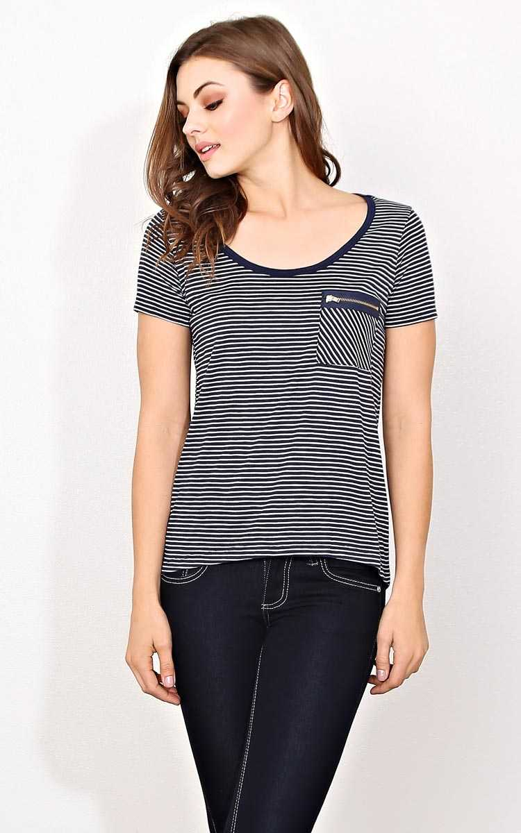 Seeing Stripes Knit Pocket Tee - - Navy Combo in Size by Styles For Less