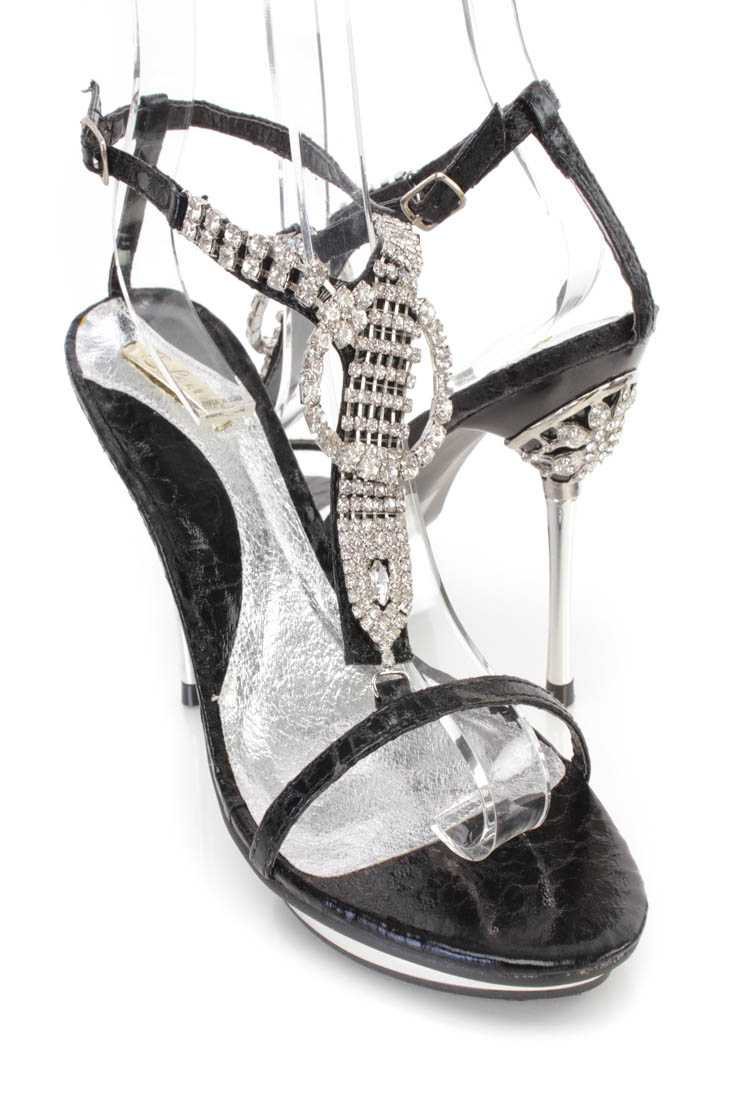 Black Rhinestones T Strap Sandal High Heels Faux Leather