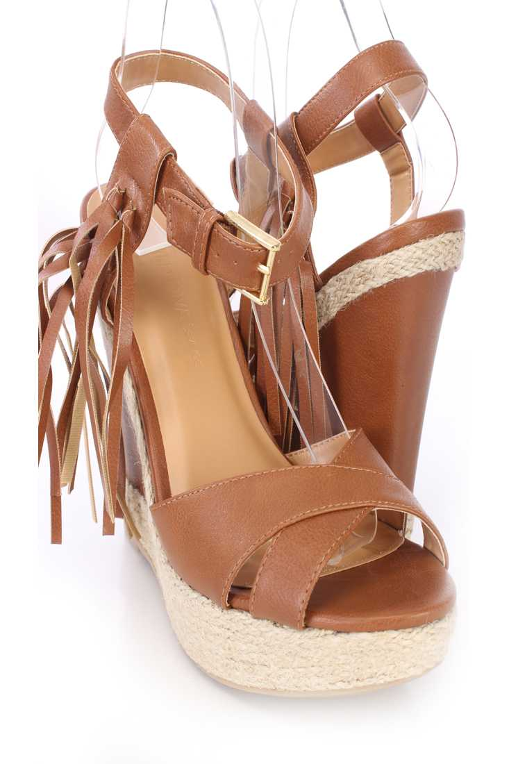 Cognac Tassel Cross Strap Espadrille Wedges Faux Leather