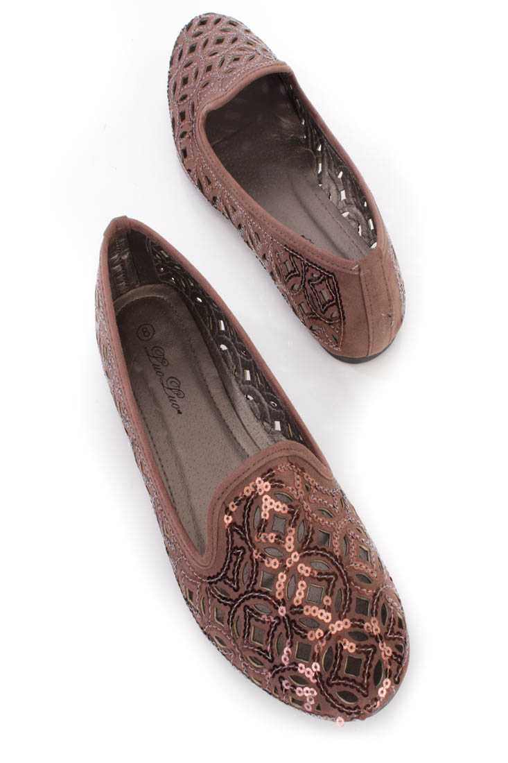 Brown Perforated Sequins Flats Faux Suede