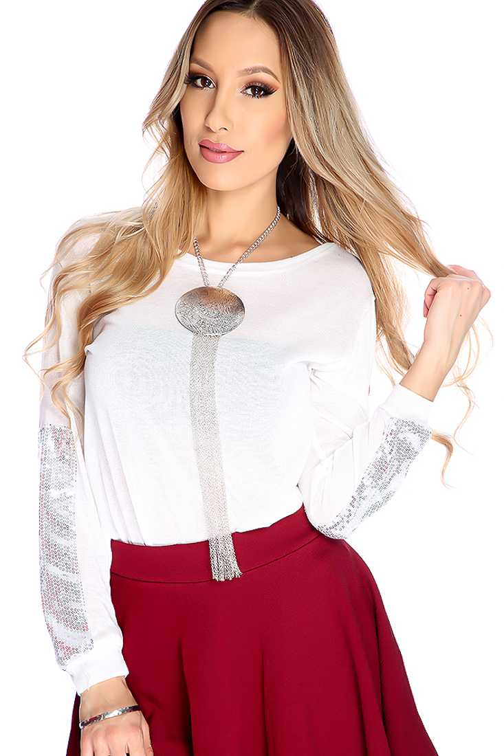 Stylish White Long Sleeve Sequence Detail Casual Top