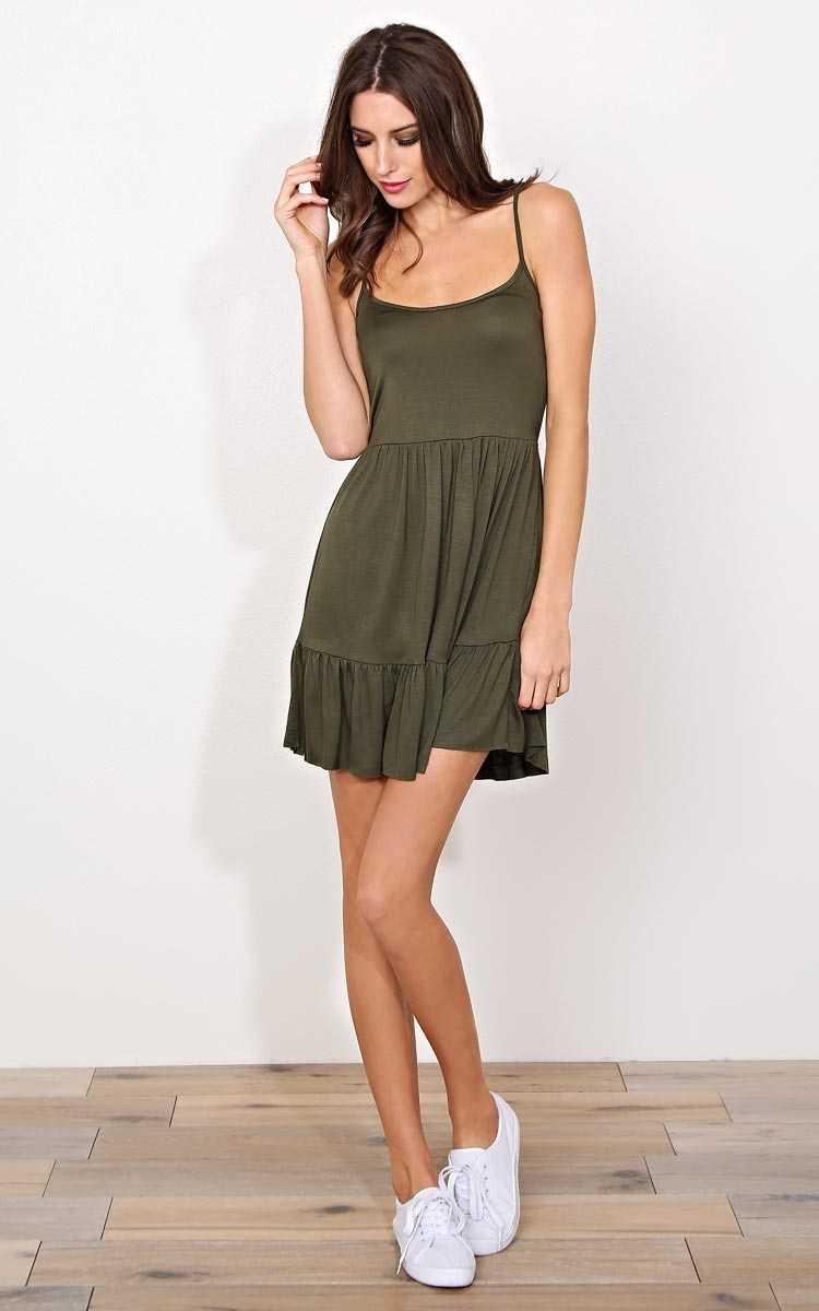 Lora Lattice Babydoll Dress - - Olive/Drab in Size by Styles For Less