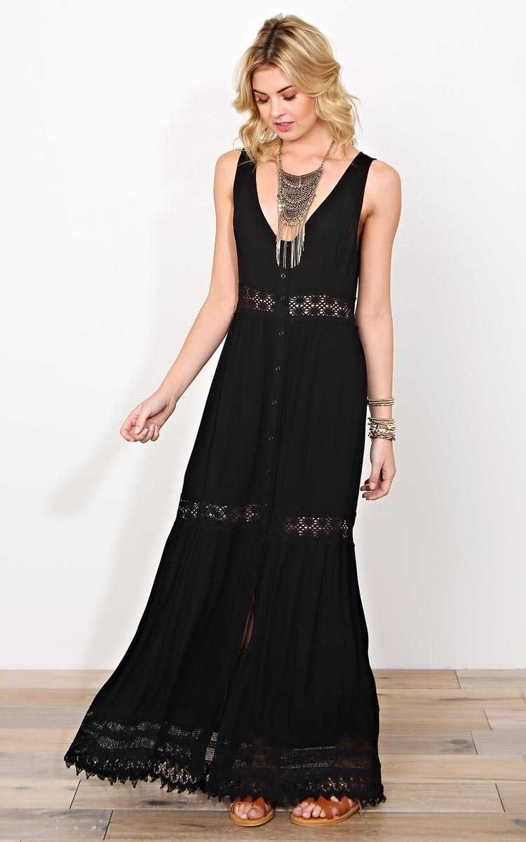 Moonshine Crochet Inset Maxi Dress - SML - Black in Size Small by Styles For Less