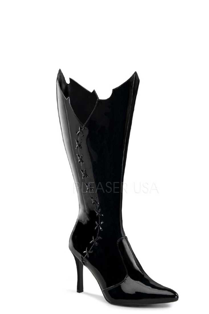 Black Bat Wing Trimmed Wide Width Boots Patent