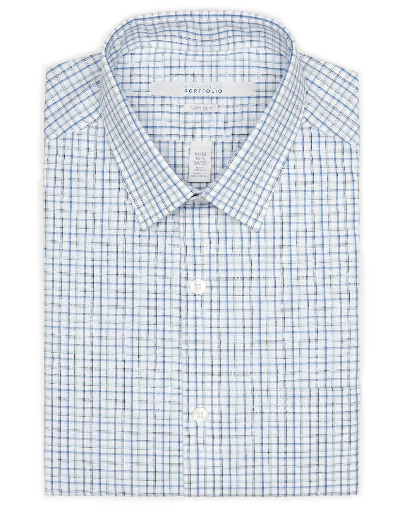 Perry Ellis Very Slim Windowpane Dress Shirt