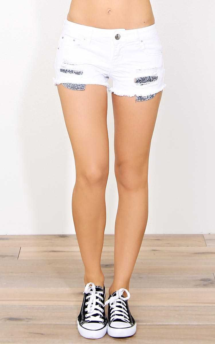 Josephine Distressed Denim Shorts - White Destroyed in Size by Styles For Less