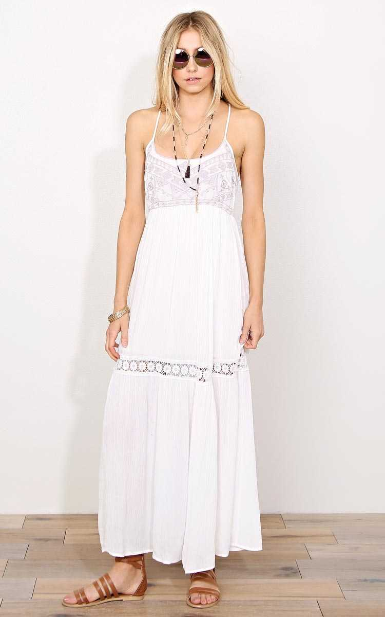 Aztec Charm Woven Gauze Maxi Dress - - Ivory Combo in Size by Styles For Less