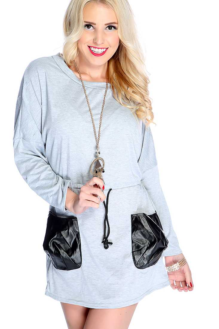 Grey Long Sleeve Side Pocket Dress