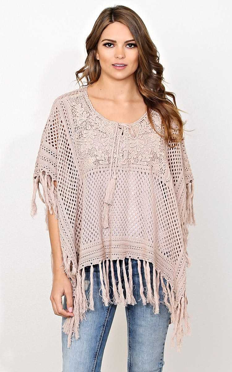 Open Air Knit Poncho - - Mocha in Size by Styles For Less