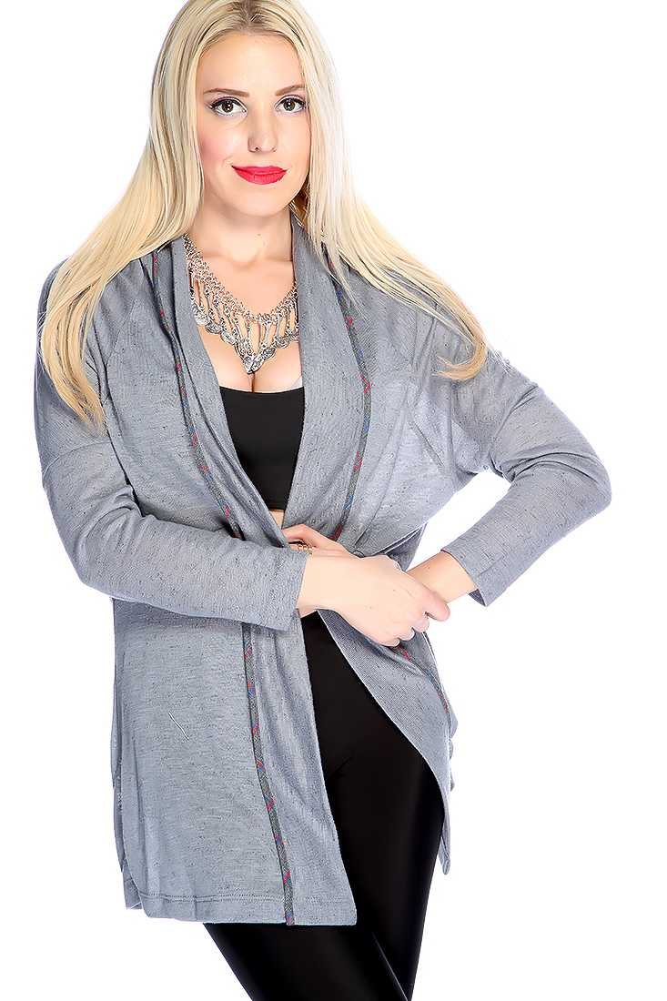 Grey Long Sleeves Open Front Two Tone Cardigan