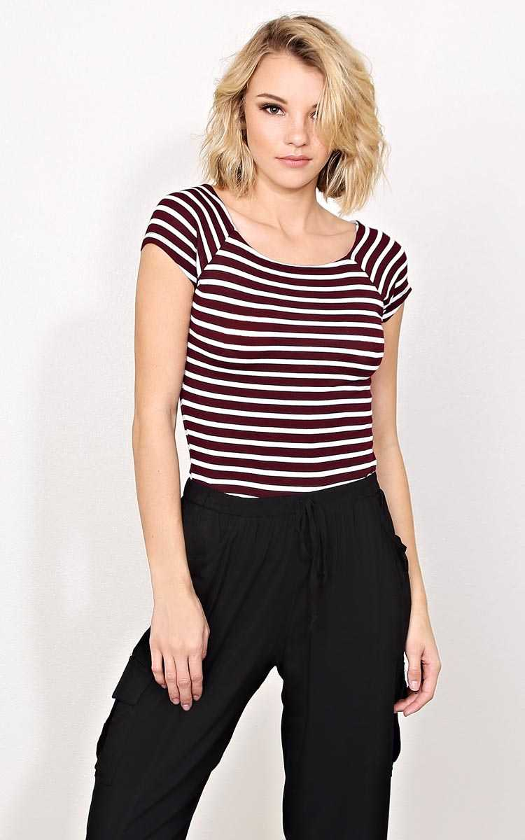Lucy Striped Knit Tee - - Burgundy in Size by Styles For Less