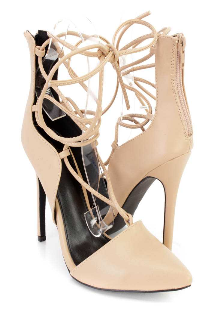 Nude Wrap Around Tie Single Sole High Heels Faux Leather