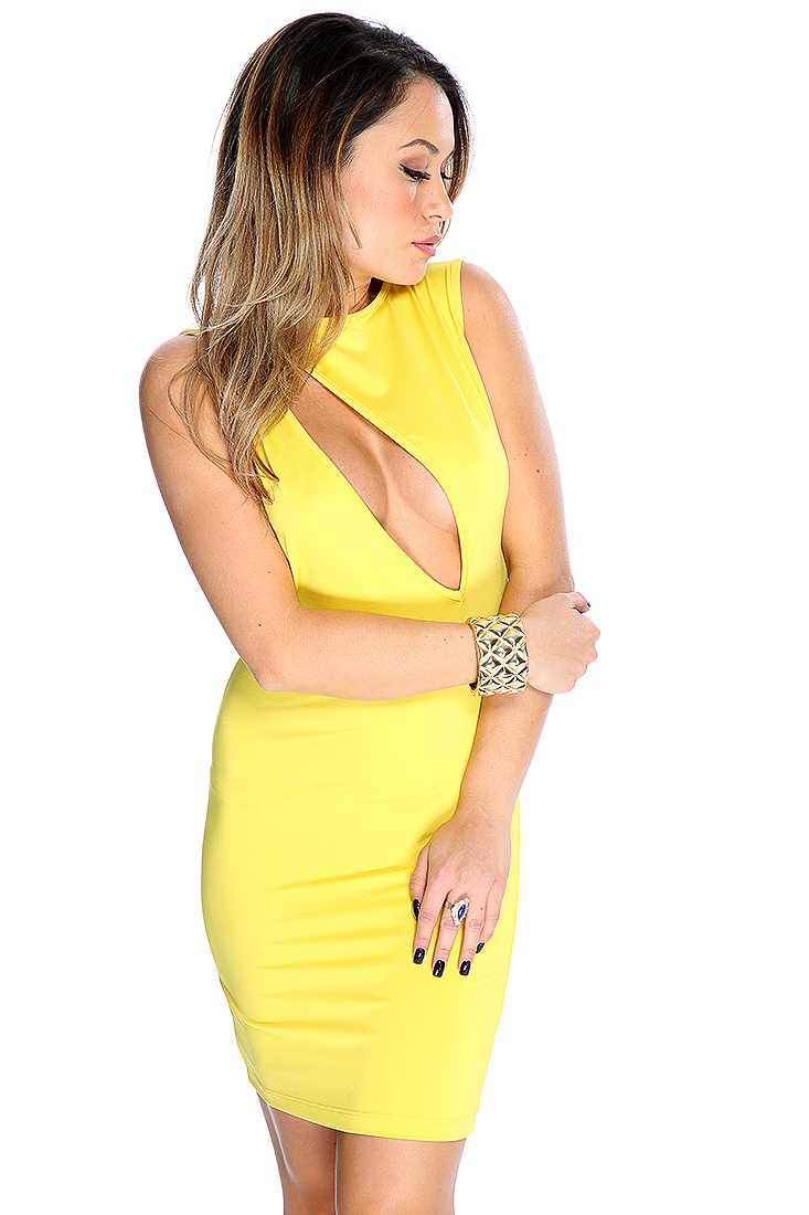 Yellow Slash Front Sleeveless Sultry Bodycon Dress