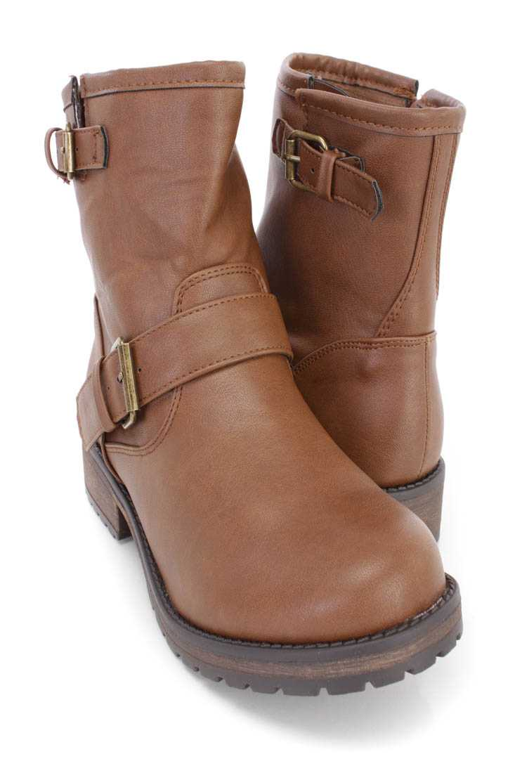 Tan Buckled Strap Ankle Boots Faux Leather