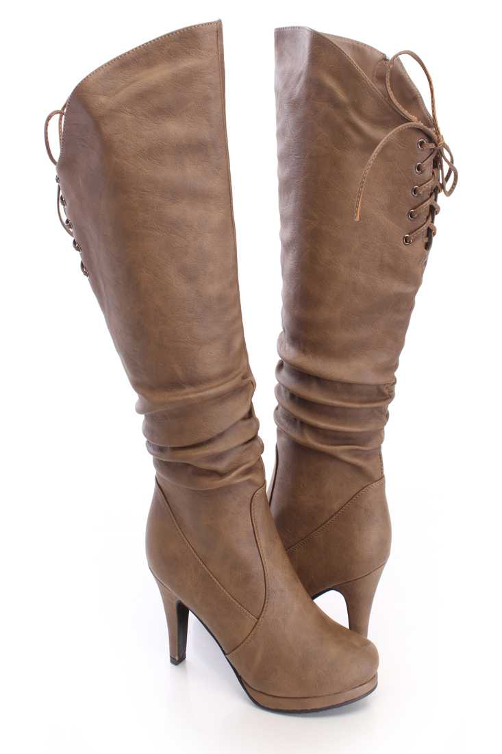 Cognac Slouchy Knee High Boots Faux Leather