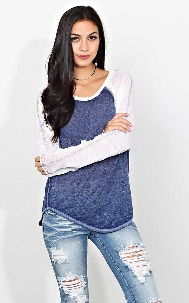 Kick Off Burnout Raglan - LGE - Navy Combo in Size Large by Styles For Less