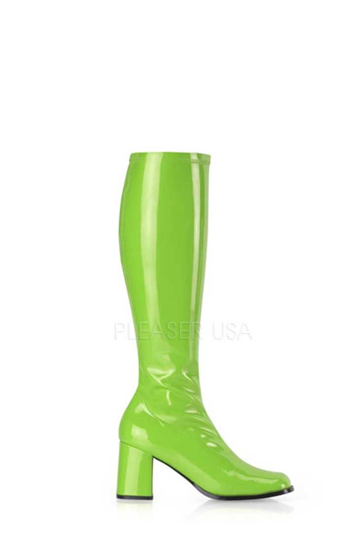 Lime Green Chunky Heel GoGo Boots Patent Faux Leather