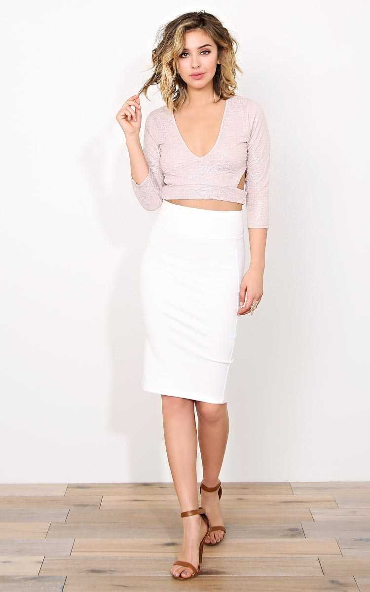 Sparkle & Shine Crop Top - - Blush Combo in Size by Styles For Less