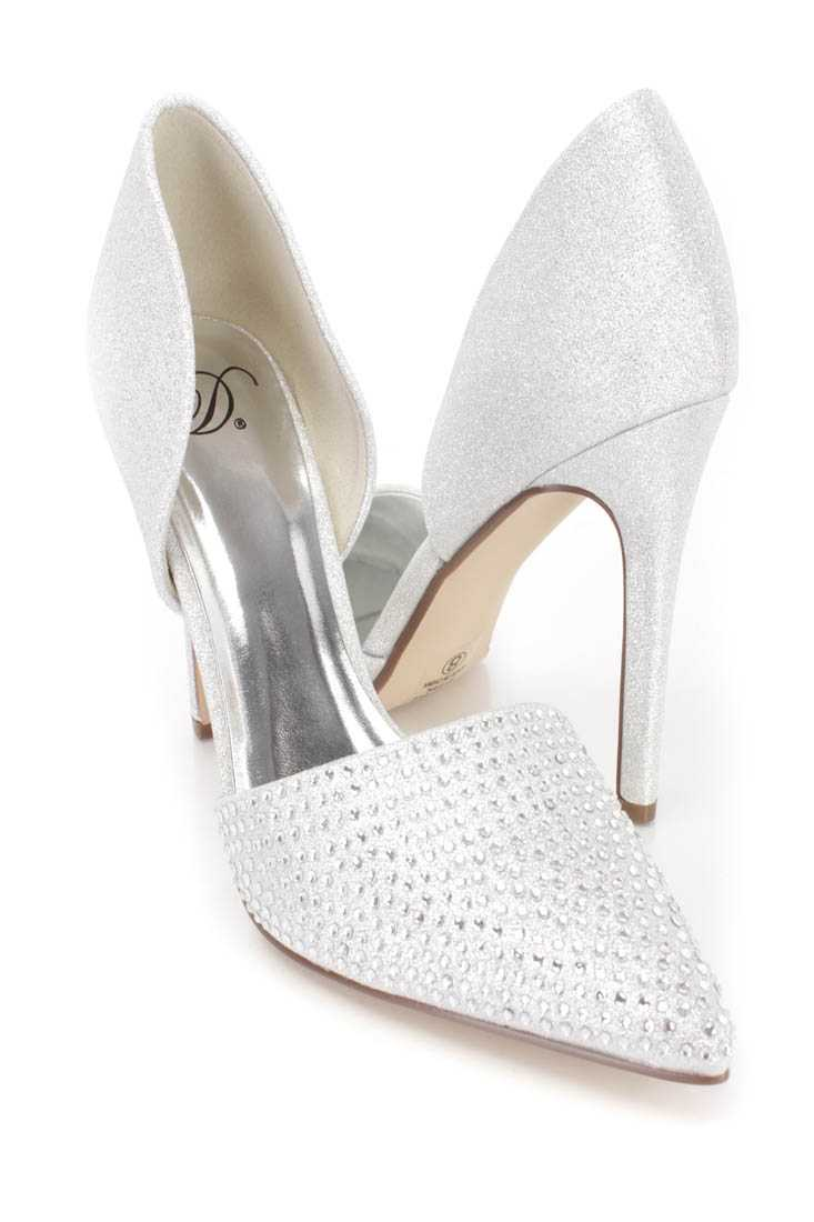 Silver Rhinestone Pointy Toe Single Sole Heels Glitter Fabric