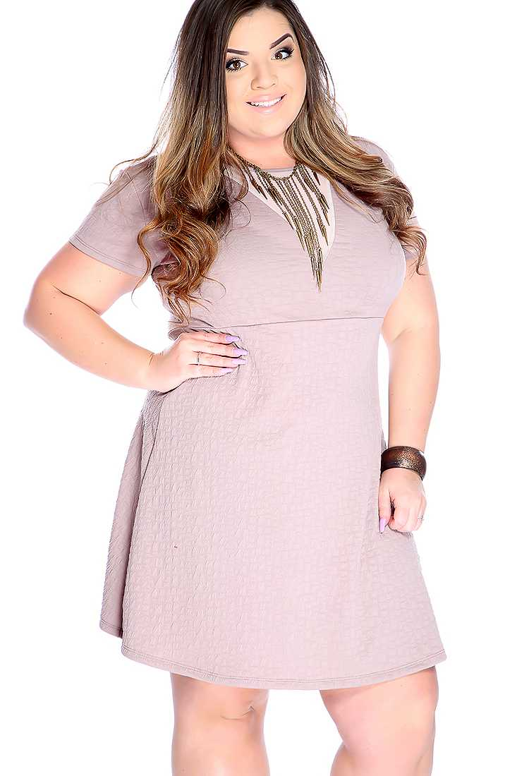 Sexy Taupe Mesh Cut Out Short Sleeve Plus Size A-line Party Dress