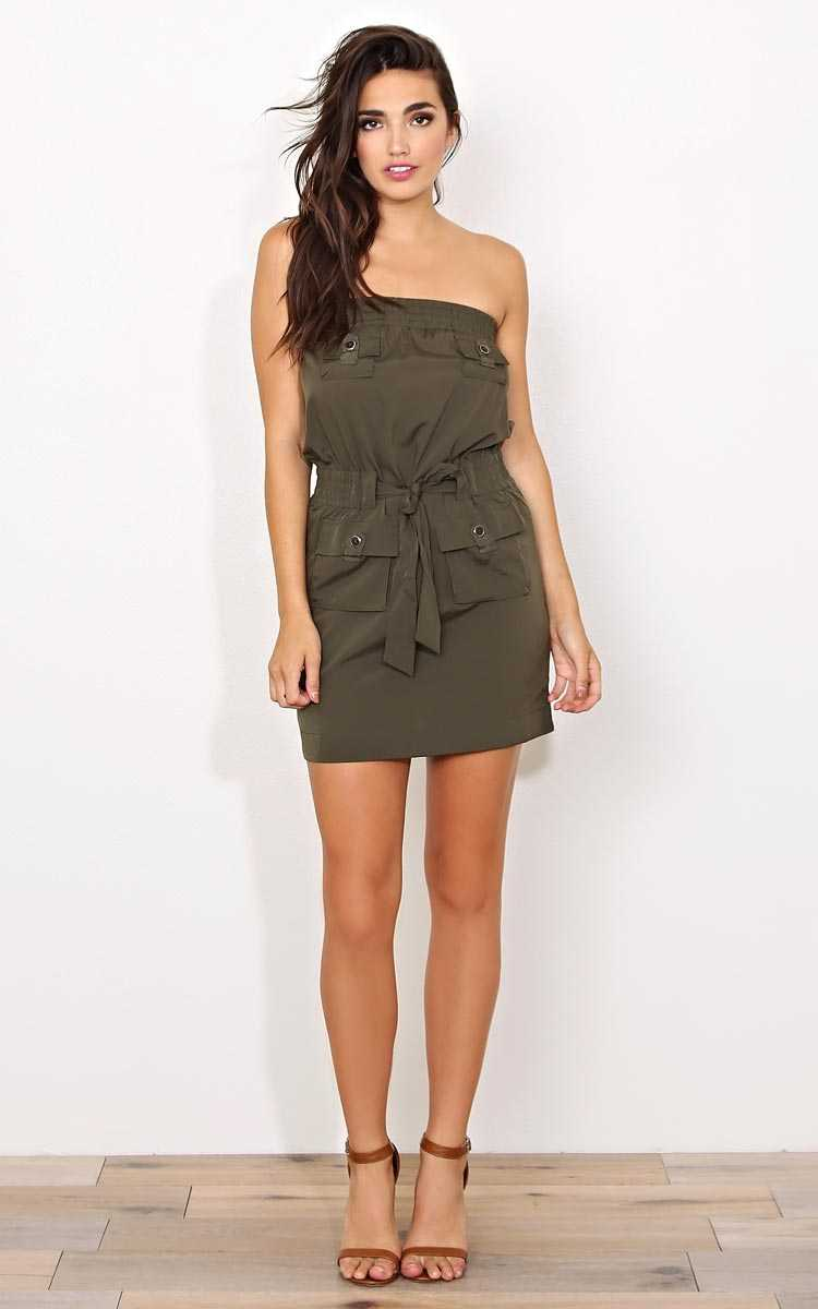 Get In Line Woven Tube Dress - - Olive/Drab in Size by Styles For Less