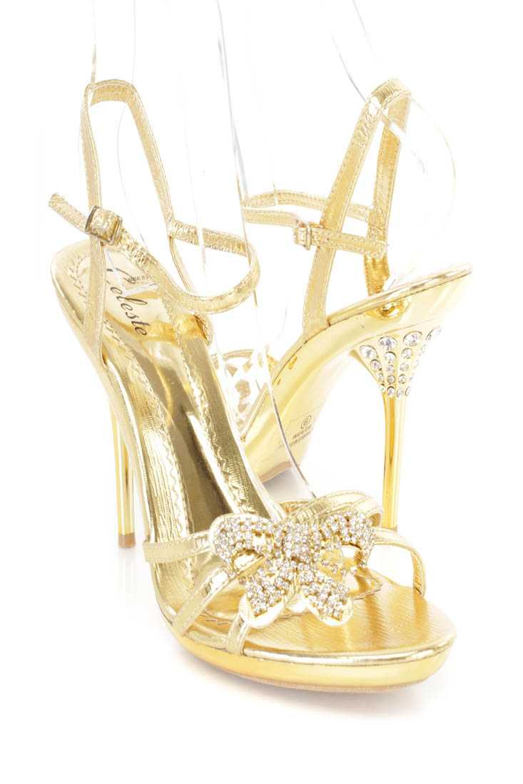 Gold Rhinestone Bow Tie Strappy Heels Faux Leather