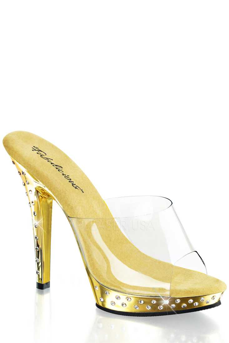 Clear Gold Chrome Rhinestone Peep Toe High Heels PVC