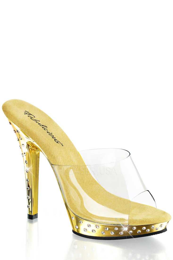 Clear Gold Chrome Rhinestone Peep Toe High Heels PVC